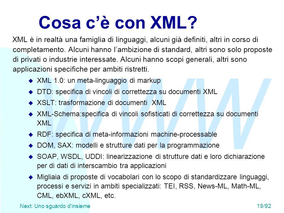 WWW Next: Uno sguardo d'insieme19/92 Cosa c'è con XML? XML è in realtà una famiglia di linguaggi, alcuni già definiti, altri in corso di completamento