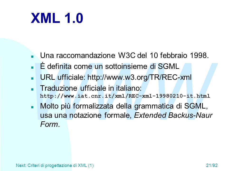 WWW Next: Criteri di progettazione di XML (1)21/92 XML 1.0 n Una raccomandazione W3C del 10 febbraio 1998. n È definita come un sottoinsieme di SGML n