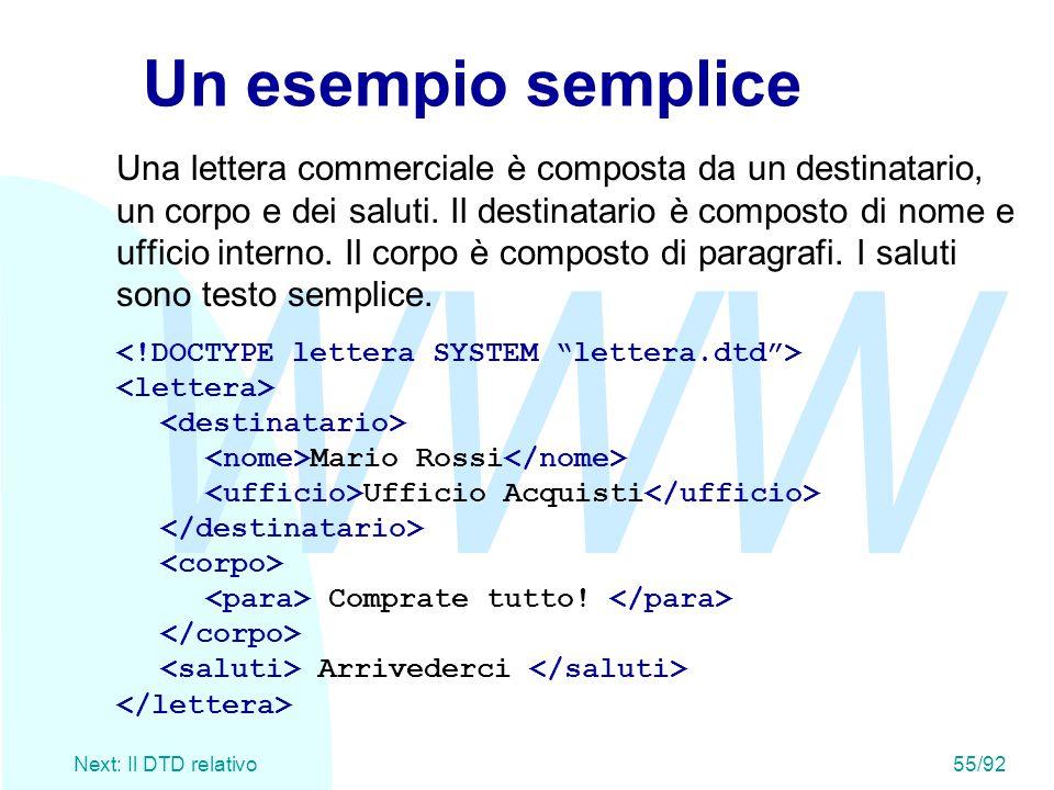 WWW Next: Il DTD relativo55/92 Un esempio semplice Una lettera commerciale è composta da un destinatario, un corpo e dei saluti. Il destinatario è com
