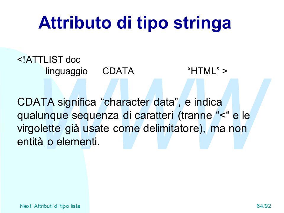 """WWW Next: Attributi di tipo lista 64/92 Attributo di tipo stringa CDATA significa """"character data"""", e indica qualunque sequenza di caratteri (tranne """""""