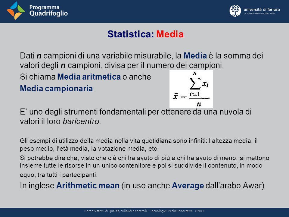 Statistica: Media Corso Sistemi di Qualità, collaudi e controlli – Tecnologie Fisiche Innovative - UNIFE Dati n campioni di una variabile misurabile, la Media è la somma dei valori degli n campioni, divisa per il numero dei campioni.