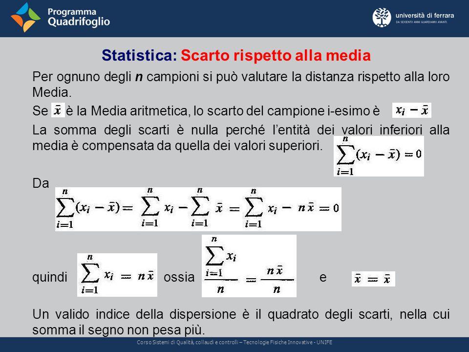 Statistica: Scarto rispetto alla media Corso Sistemi di Qualità, collaudi e controlli – Tecnologie Fisiche Innovative - UNIFE Per ognuno degli n campioni si può valutare la distanza rispetto alla loro Media.