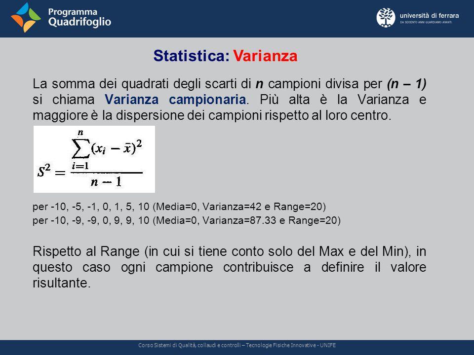 Statistica: Varianza Corso Sistemi di Qualità, collaudi e controlli – Tecnologie Fisiche Innovative - UNIFE La somma dei quadrati degli scarti di n campioni divisa per (n – 1) si chiama Varianza campionaria.