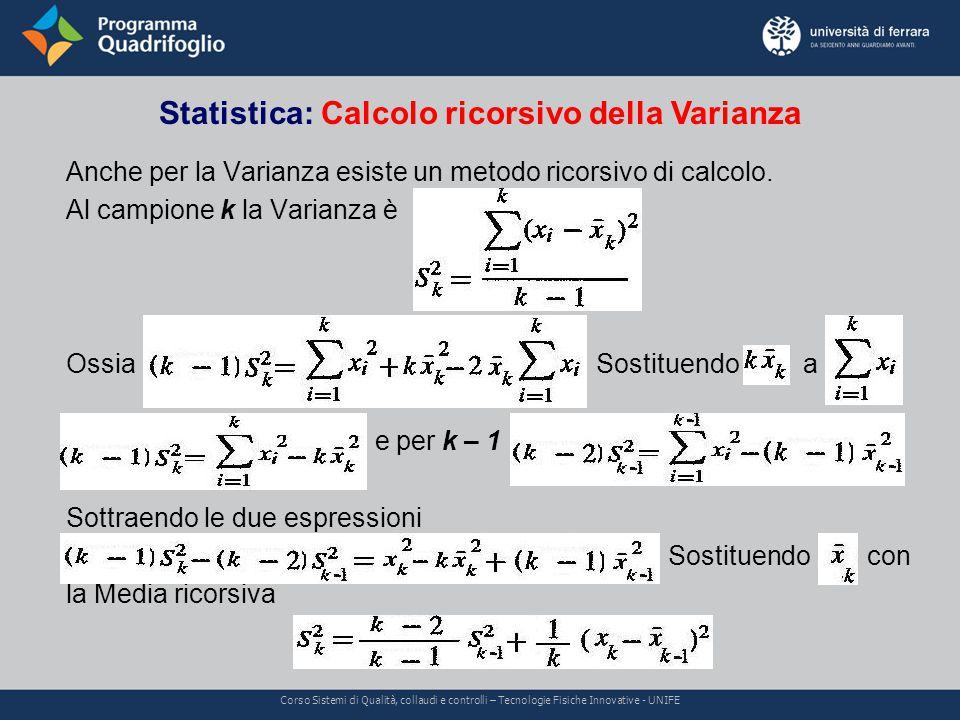 Statistica: Calcolo ricorsivo della Varianza Corso Sistemi di Qualità, collaudi e controlli – Tecnologie Fisiche Innovative - UNIFE Anche per la Varianza esiste un metodo ricorsivo di calcolo.