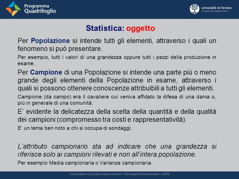 Statistica: oggetto Corso Sistemi di Qualità, collaudi e controlli – Tecnologie Fisiche Innovative - UNIFE Per Popolazione si intende tutti gli elementi, attraverso i quali un fenomeno si può presentare.