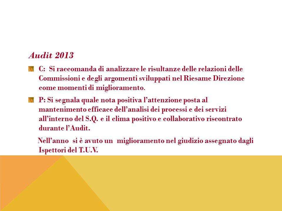 Audit 2013 C: Si raccomanda di analizzare le risultanze delle relazioni delle Commissioni e degli argomenti sviluppati nel Riesame Direzione come mome