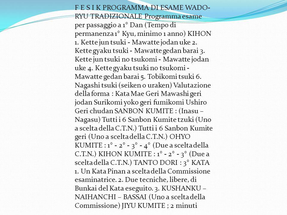F E S I K PROGRAMMA DI ESAME WADO- RYU TRADIZIONALE Programma esame per passaggio a 1° Dan (Tempo di permanenza 1° Kyu, minimo 1 anno) KIHON 1. Kette