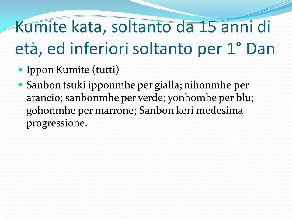 Kumite kata, soltanto da 15 anni di età, ed inferiori soltanto per 1° Dan Ippon Kumite (tutti) Sanbon tsuki ipponmhe per gialla; nihonmhe per arancio; sanbonmhe per verde; yonhomhe per blu; gohonmhe per marrone; Sanbon keri medesima progressione.