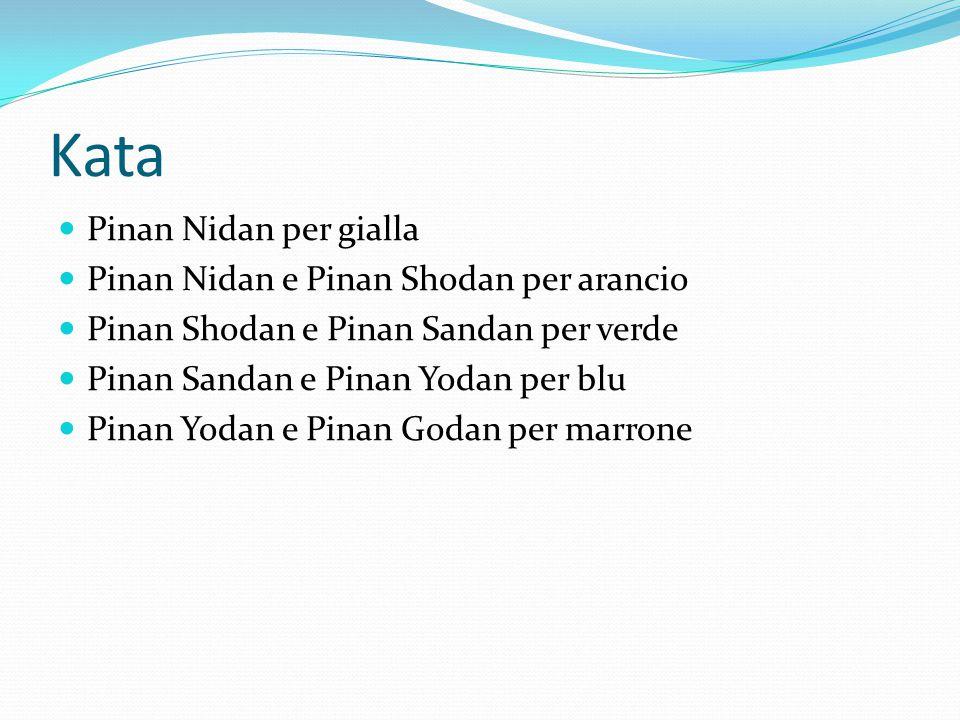 Kata Pinan Nidan per gialla Pinan Nidan e Pinan Shodan per arancio Pinan Shodan e Pinan Sandan per verde Pinan Sandan e Pinan Yodan per blu Pinan Yodan e Pinan Godan per marrone