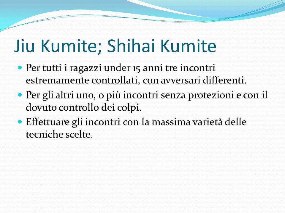 Jiu Kumite; Shihai Kumite Per tutti i ragazzi under 15 anni tre incontri estremamente controllati, con avversari differenti.