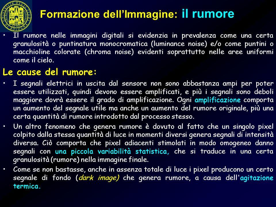 Formazione dell'Immagine: il rumore Il rumore nelle immagini digitali si evidenzia in prevalenza come una certa granulosità o puntinatura monocromatic