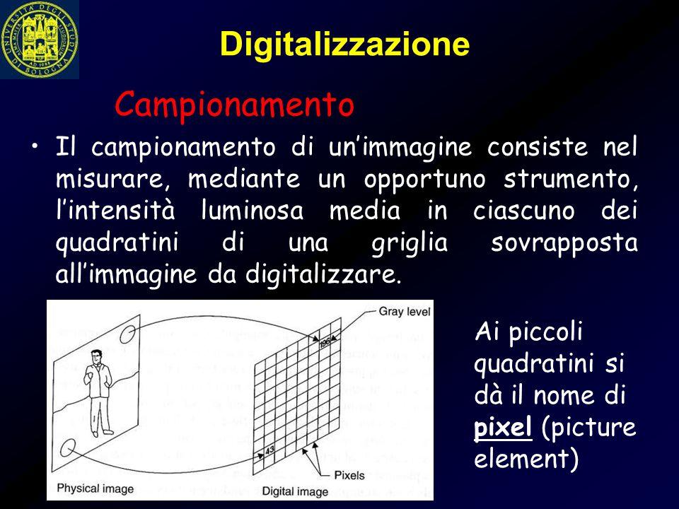 Digitalizzazione Il campionamento di un'immagine consiste nel misurare, mediante un opportuno strumento, l'intensità luminosa media in ciascuno dei qu