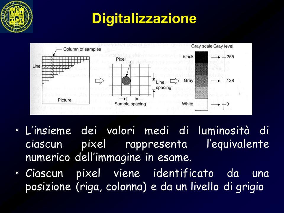 Digitalizzazione L'insieme dei valori medi di luminosità di ciascun pixel rappresenta l'equivalente numerico dell'immagine in esame. Ciascun pixel vie