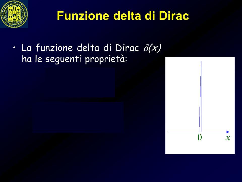 Funzione delta di Dirac La funzione delta di Dirac  (x) ha le seguenti proprietà: