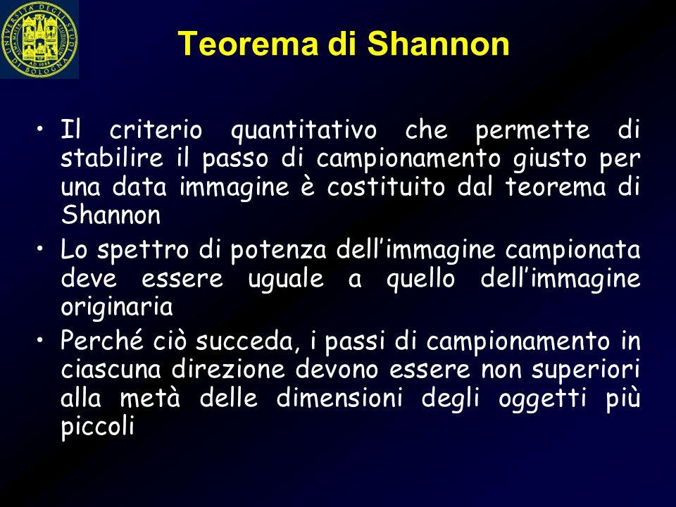 Teorema di Shannon Il criterio quantitativo che permette di stabilire il passo di campionamento giusto per una data immagine è costituito dal teorema