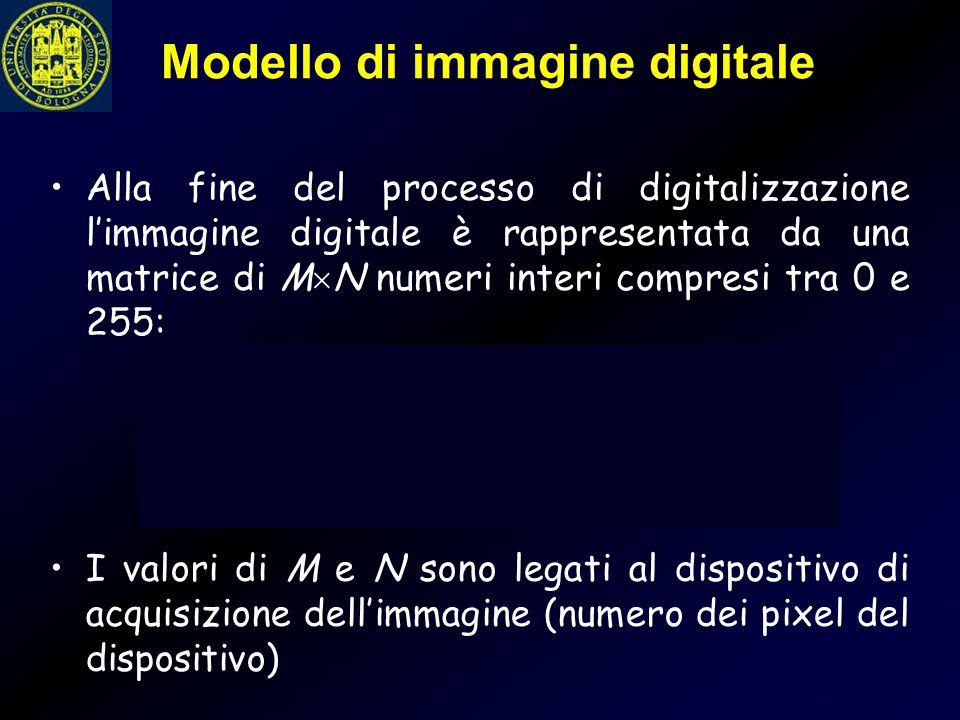 Modello di immagine digitale Alla fine del processo di digitalizzazione l'immagine digitale è rappresentata da una matrice di M  N numeri interi comp