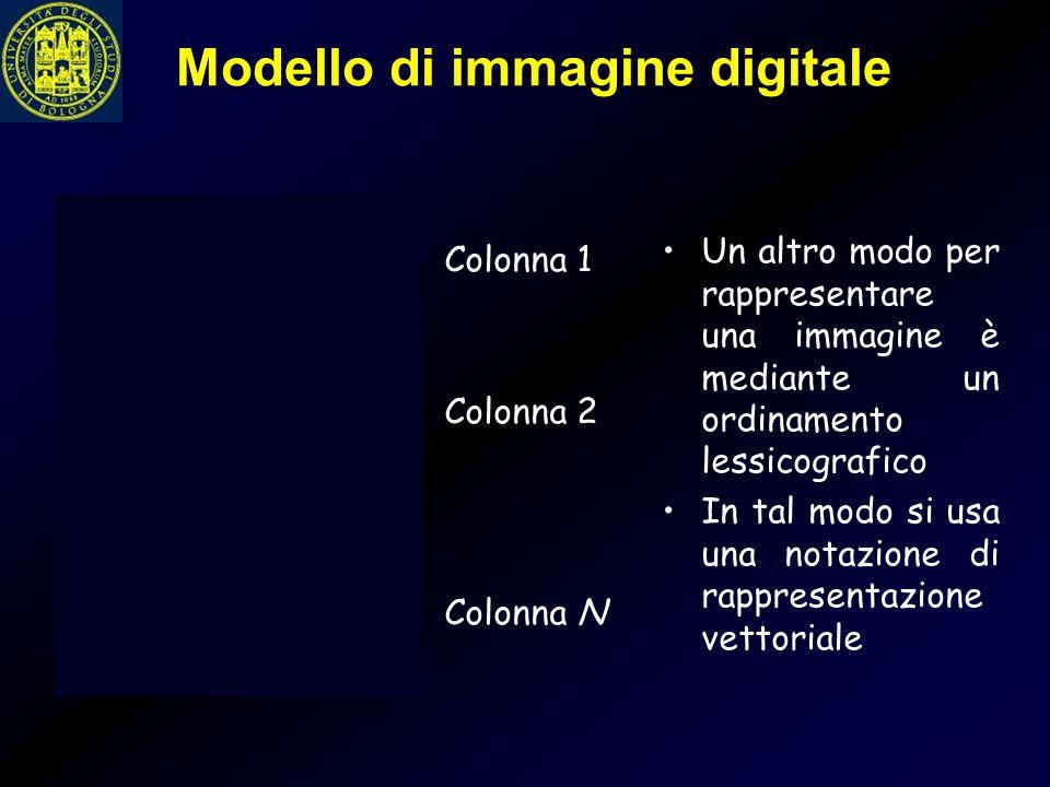 Modello di immagine digitale Un altro modo per rappresentare una immagine è mediante un ordinamento lessicografico In tal modo si usa una notazione di