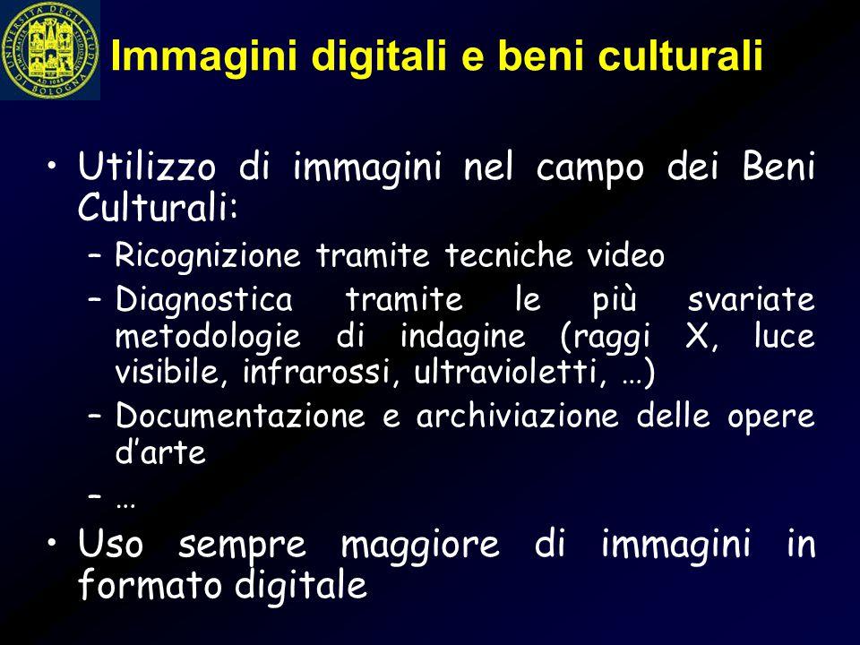 Immagini digitali e beni culturali Utilizzo di immagini nel campo dei Beni Culturali: –Ricognizione tramite tecniche video –Diagnostica tramite le più