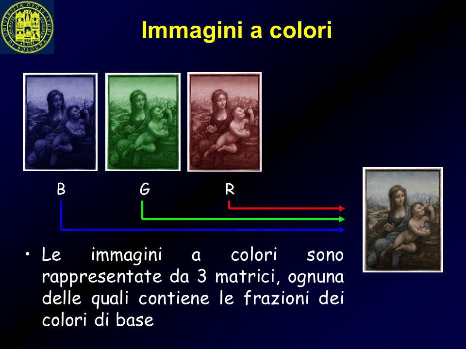Immagini a colori Le immagini a colori sono rappresentate da 3 matrici, ognuna delle quali contiene le frazioni dei colori di base B G R