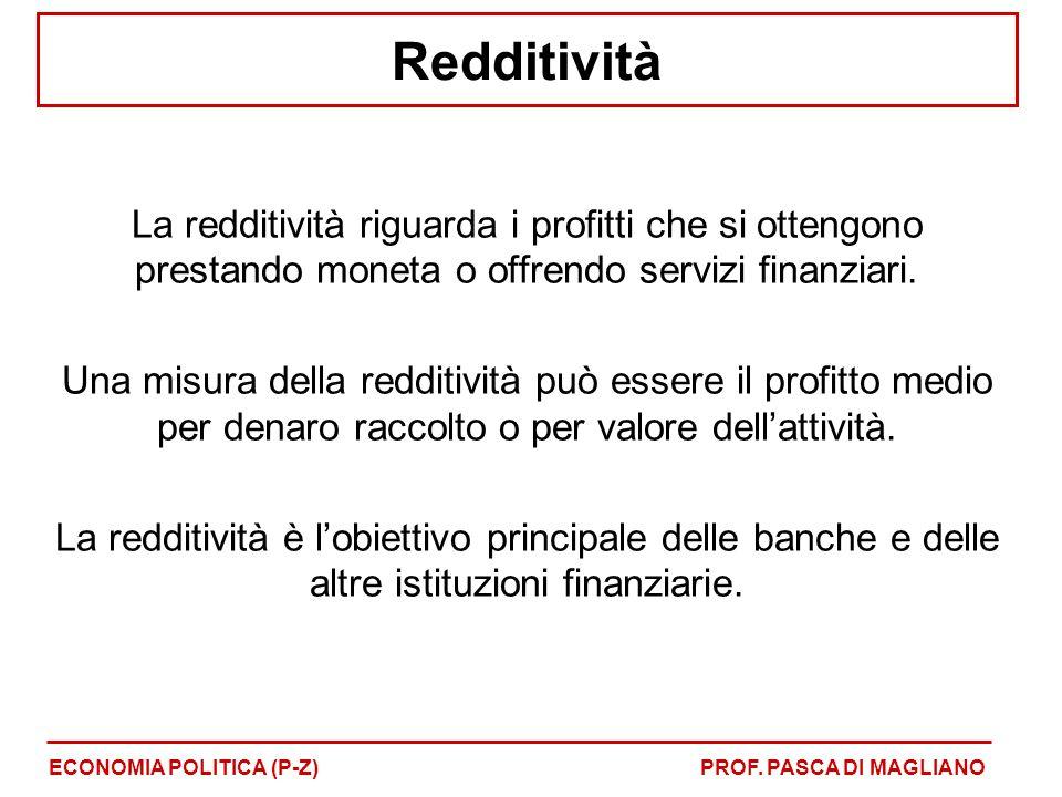 Redditività La redditività riguarda i profitti che si ottengono prestando moneta o offrendo servizi finanziari. Una misura della redditività può esser