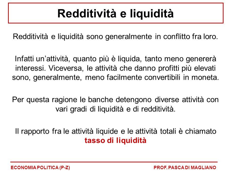 Redditività e liquidità Redditività e liquidità sono generalmente in conflitto fra loro. Infatti un'attività, quanto più è liquida, tanto meno generer
