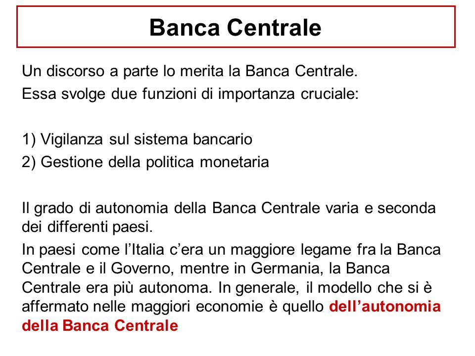 Banca Centrale Un discorso a parte lo merita la Banca Centrale. Essa svolge due funzioni di importanza cruciale: 1) Vigilanza sul sistema bancario 2)
