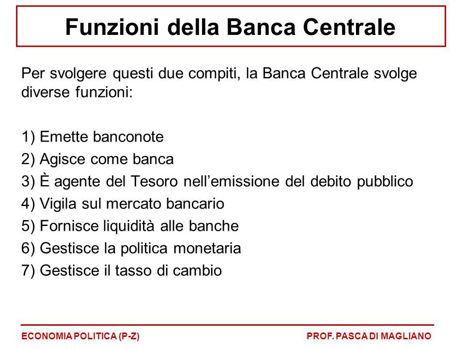 Funzioni della Banca Centrale Per svolgere questi due compiti, la Banca Centrale svolge diverse funzioni: 1) Emette banconote 2) Agisce come banca 3)