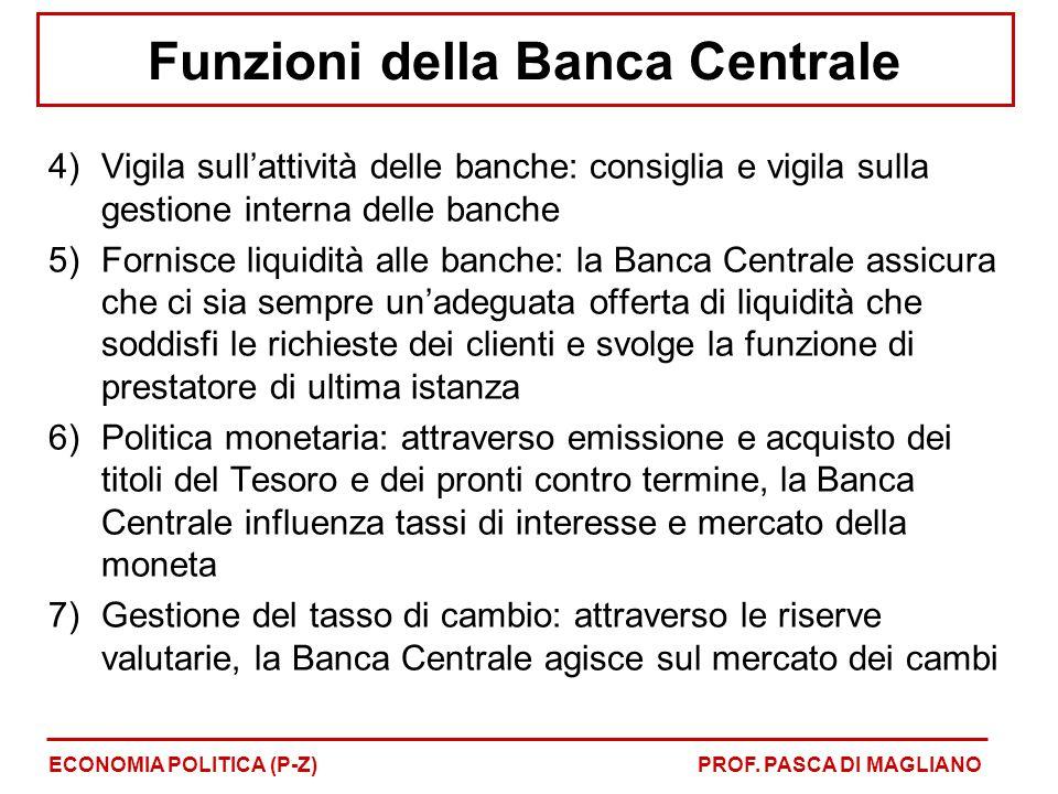 Funzioni della Banca Centrale 4)Vigila sull'attività delle banche: consiglia e vigila sulla gestione interna delle banche 5)Fornisce liquidità alle ba