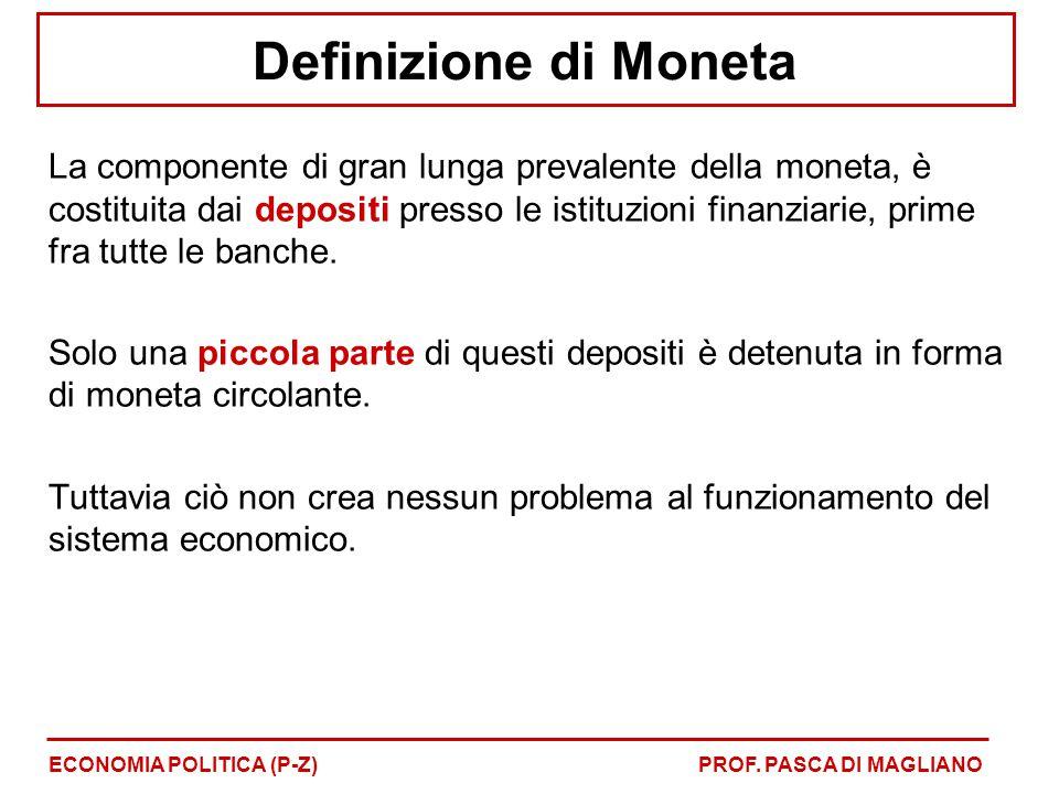 Definizione di Moneta La componente di gran lunga prevalente della moneta, è costituita dai depositi presso le istituzioni finanziarie, prime fra tutt