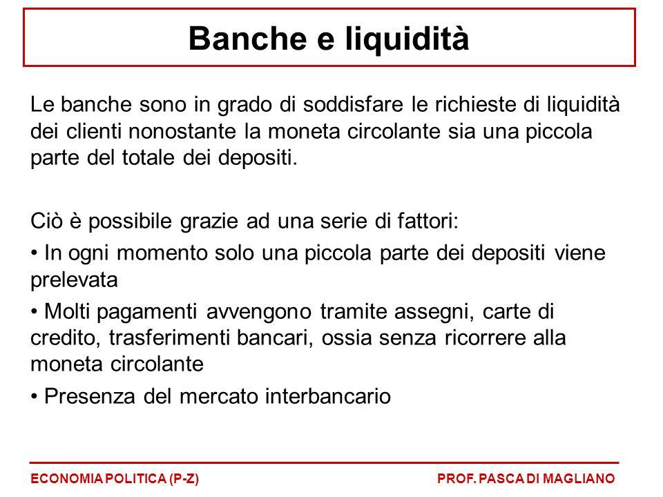 Banche e liquidità Le banche sono in grado di soddisfare le richieste di liquidità dei clienti nonostante la moneta circolante sia una piccola parte d