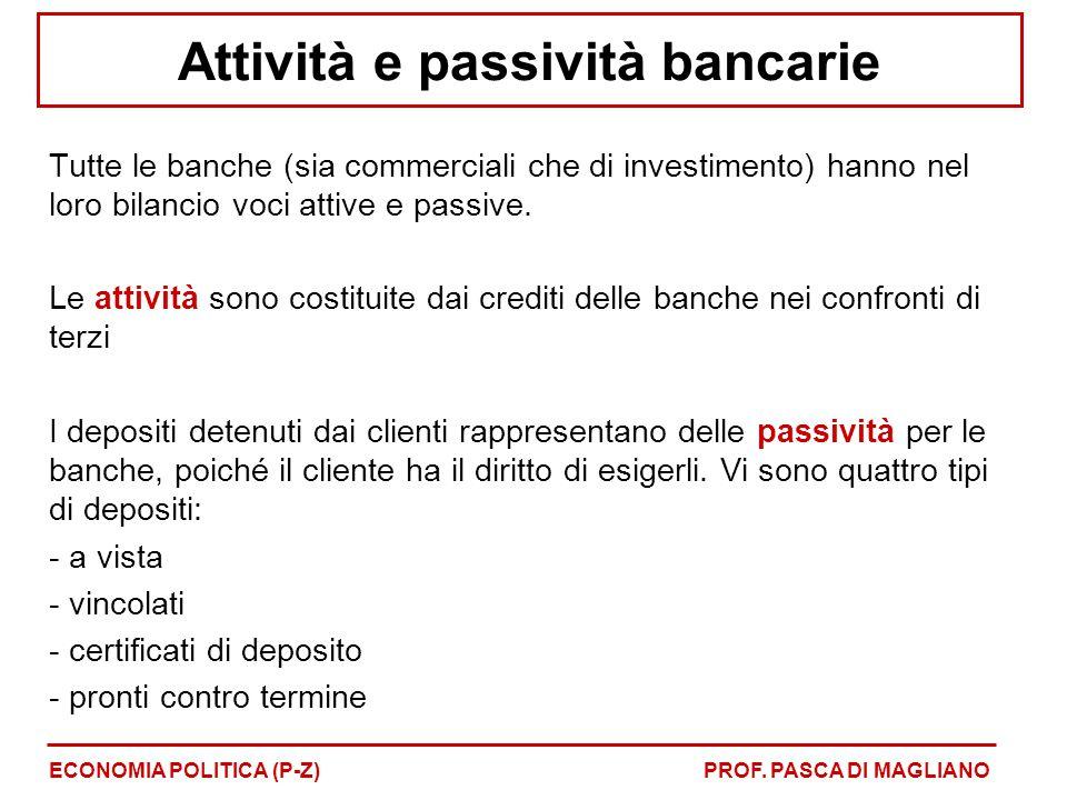 Attività e passività bancarie Tutte le banche (sia commerciali che di investimento) hanno nel loro bilancio voci attive e passive. Le attività sono co