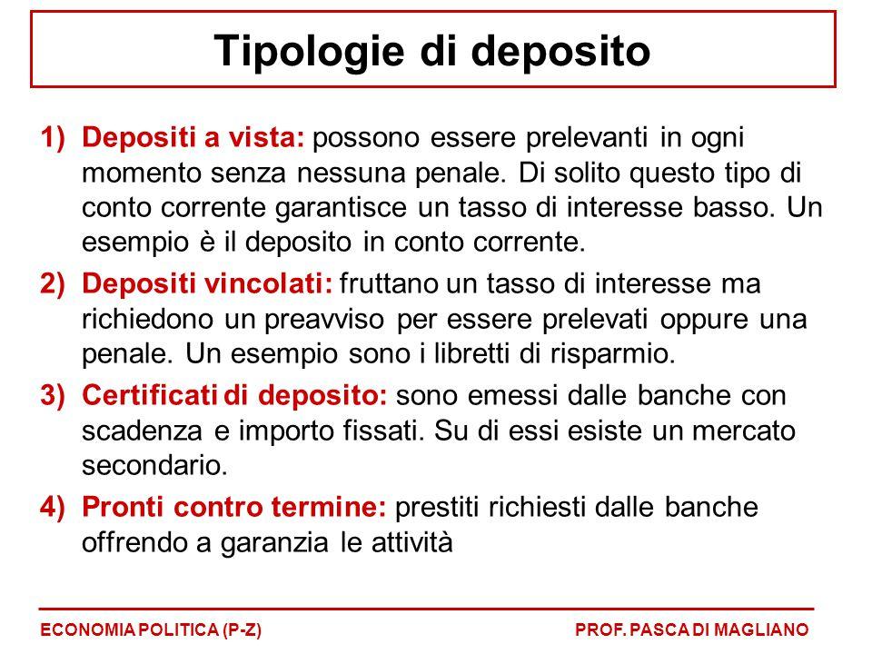Tipologie di deposito 1)Depositi a vista: possono essere prelevanti in ogni momento senza nessuna penale. Di solito questo tipo di conto corrente gara