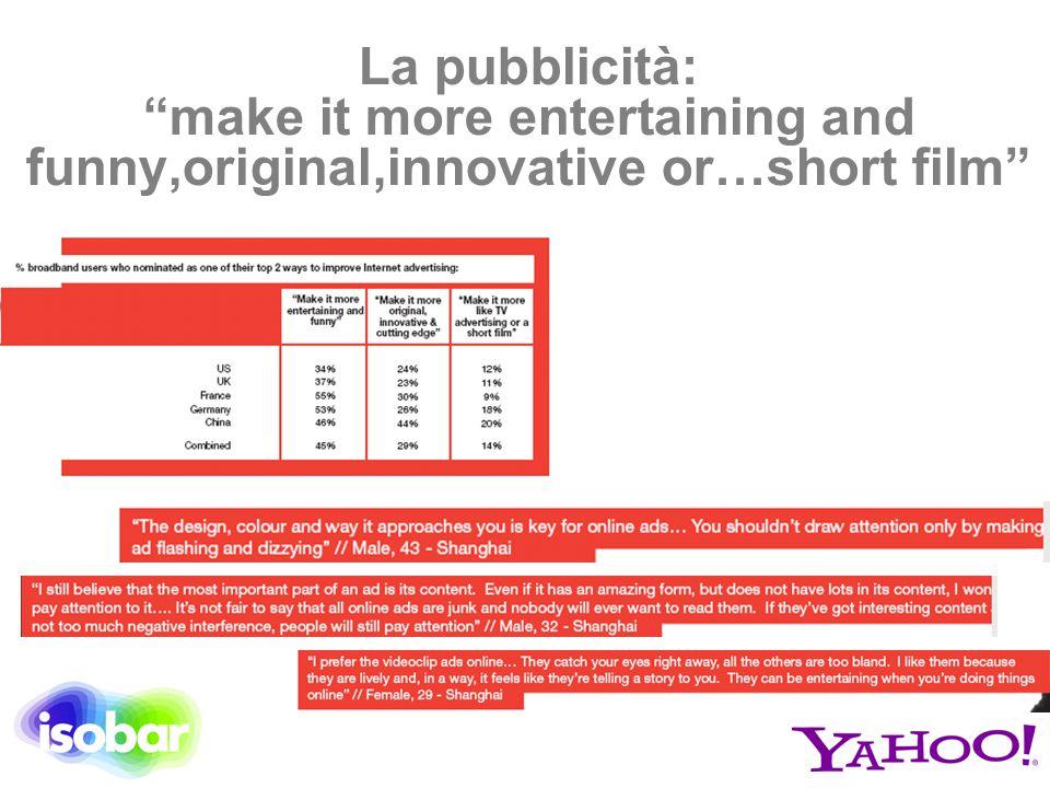 """La pubblicità: """"make it more entertaining and funny,original,innovative or…short film"""""""