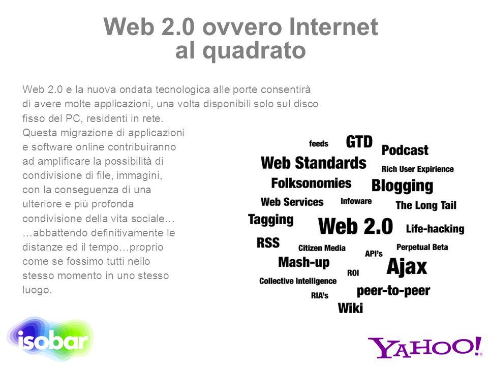 Web 2.0 ovvero Internet al quadrato Web 2.0 e la nuova ondata tecnologica alle porte consentirà di avere molte applicazioni, una volta disponibili sol