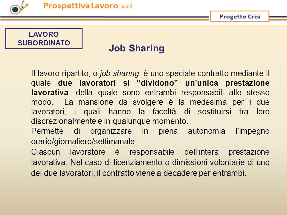"""Il lavoro ripartito, o job sharing, è uno speciale contratto mediante il quale due lavoratori si """"dividono"""" un'unica prestazione lavorativa, della qua"""
