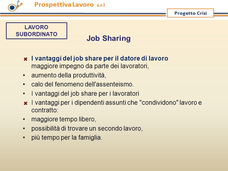 I vantaggi del job share per il datore di lavoro maggiore impegno da parte dei lavoratori, aumento della produttività, calo del fenomeno dell'assentei