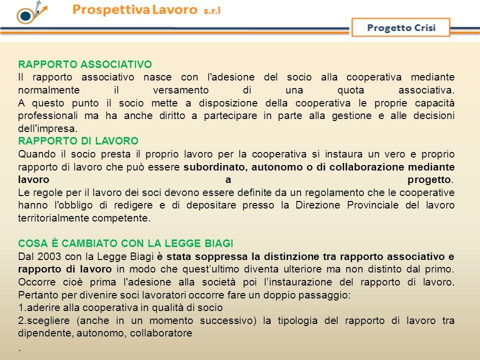 RAPPORTO ASSOCIATIVO Il rapporto associativo nasce con l'adesione del socio alla cooperativa mediante normalmente il versamento di una quota associati