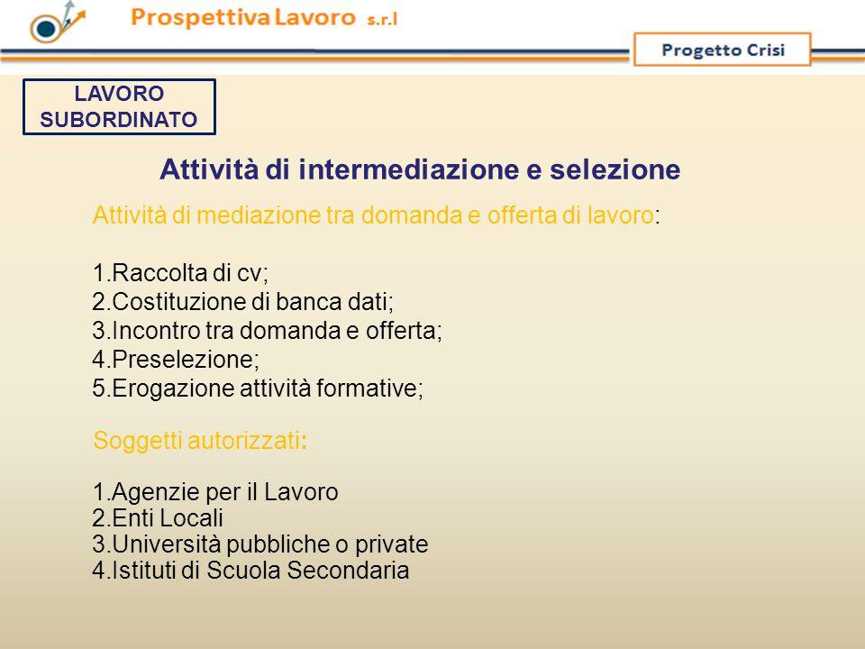Attività di intermediazione e selezione Attività di mediazione tra domanda e offerta di lavoro: 1.Raccolta di cv; 2.Costituzione di banca dati; 3.Inco