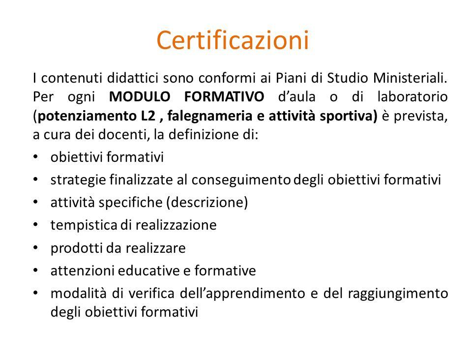 Certificazioni I contenuti didattici sono conformi ai Piani di Studio Ministeriali. Per ogni MODULO FORMATIVO d'aula o di laboratorio (potenziamento L