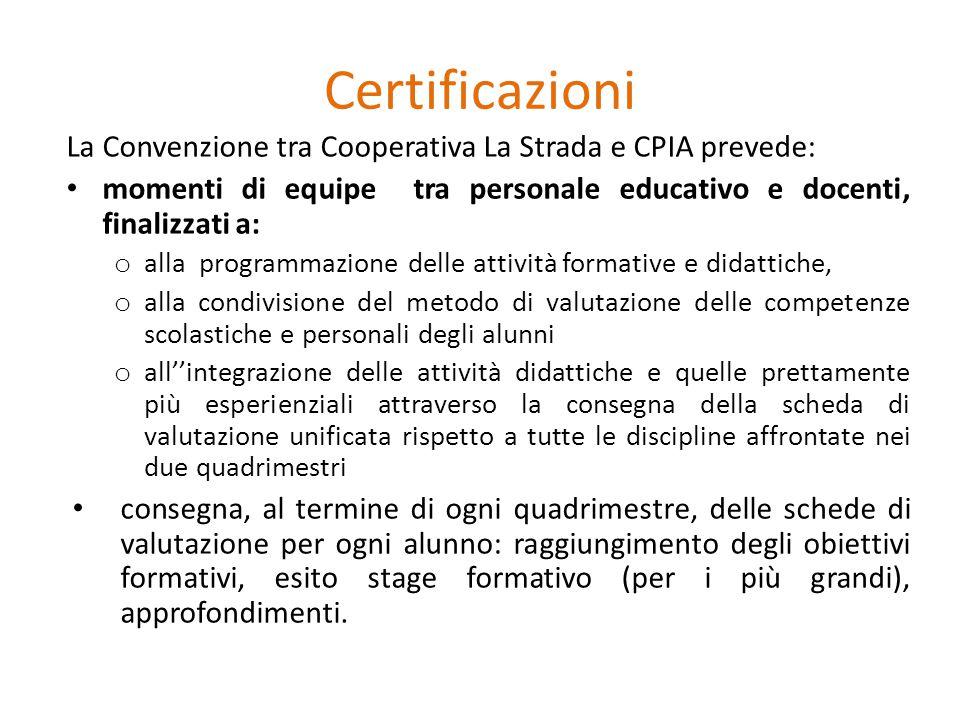 Certificazioni La Convenzione tra Cooperativa La Strada e CPIA prevede: momenti di equipe tra personale educativo e docenti, finalizzati a: o alla pro