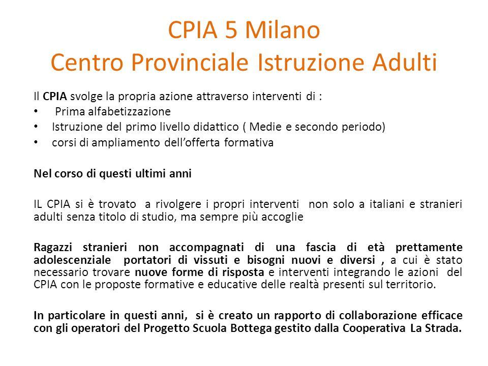 CPIA 5 Milano Centro Provinciale Istruzione Adulti Il CPIA svolge la propria azione attraverso interventi di : Prima alfabetizzazione Istruzione del p