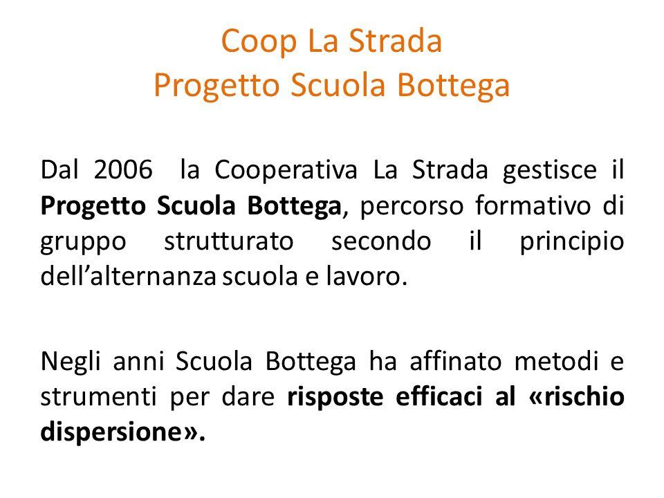 Coop La Strada Progetto Scuola Bottega Dal 2006 la Cooperativa La Strada gestisce il Progetto Scuola Bottega, percorso formativo di gruppo strutturato