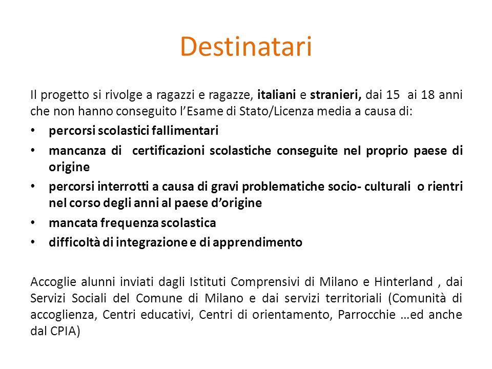 Destinatari Il progetto si rivolge a ragazzi e ragazze, italiani e stranieri, dai 15 ai 18 anni che non hanno conseguito l'Esame di Stato/Licenza medi