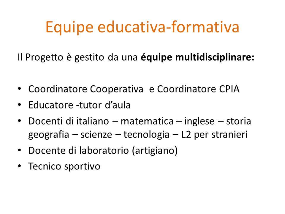 Equipe educativa-formativa Il Progetto è gestito da una équipe multidisciplinare: Coordinatore Cooperativa e Coordinatore CPIA Educatore -tutor d'aula