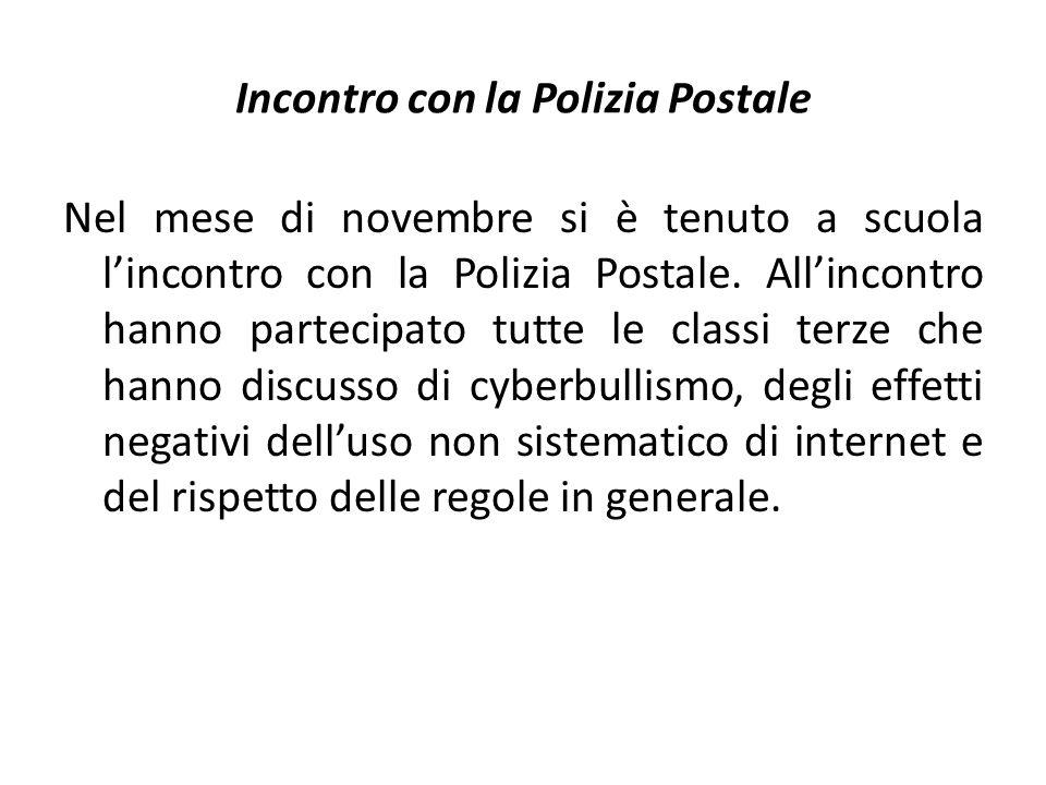 Incontro con la Polizia Postale Nel mese di novembre si è tenuto a scuola l'incontro con la Polizia Postale.