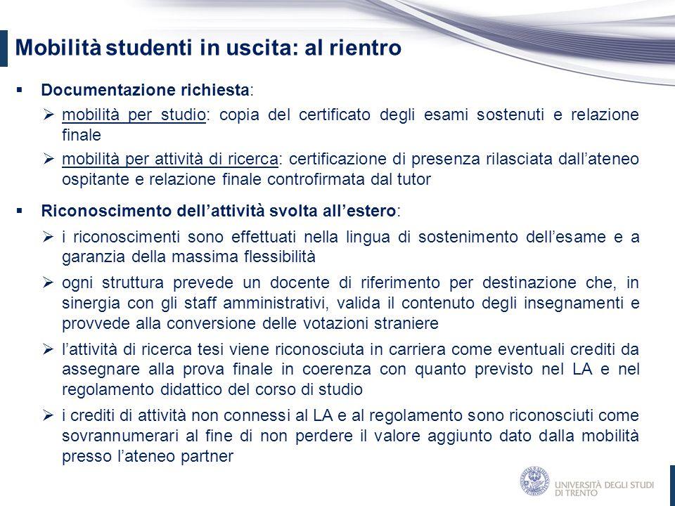 Mobilità studenti in uscita: al rientro  Documentazione richiesta:  mobilità per studio: copia del certificato degli esami sostenuti e relazione fin