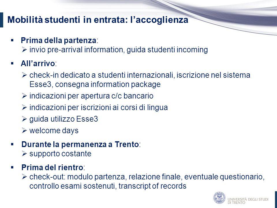  Prima della partenza:  invio pre-arrival information, guida studenti incoming  All'arrivo:  check-in dedicato a studenti internazionali, iscrizio