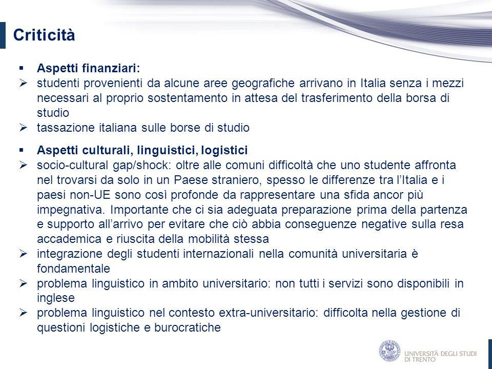Criticità  Aspetti finanziari:  studenti provenienti da alcune aree geografiche arrivano in Italia senza i mezzi necessari al proprio sostentamento