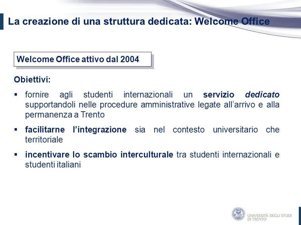 Obiettivi:  fornire agli studenti internazionali un servizio dedicato supportandoli nelle procedure amministrative legate all'arrivo e alla permanenz