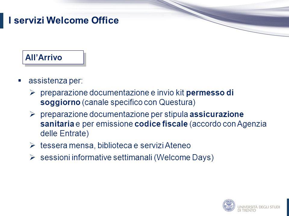 I servizi Welcome Office  assistenza per:  preparazione documentazione e invio kit permesso di soggiorno (canale specifico con Questura)  preparazi